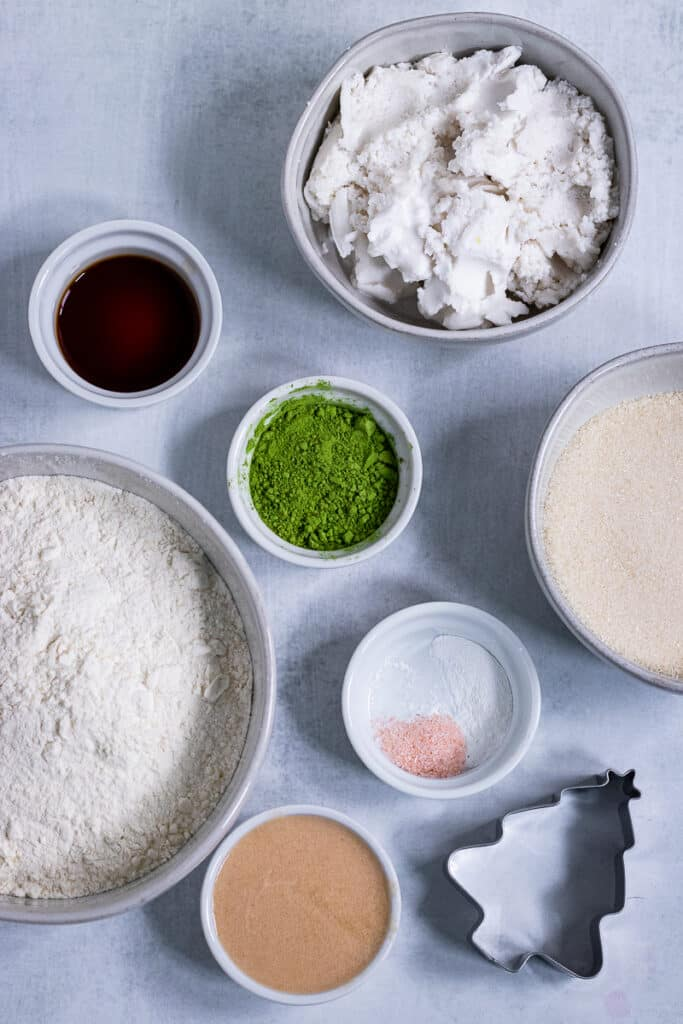 Ingredients for the matcha cookies