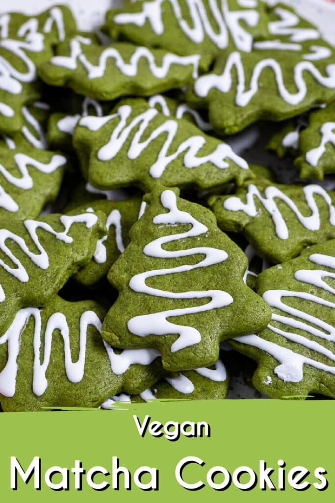 Pinterest image for the matcha cookies