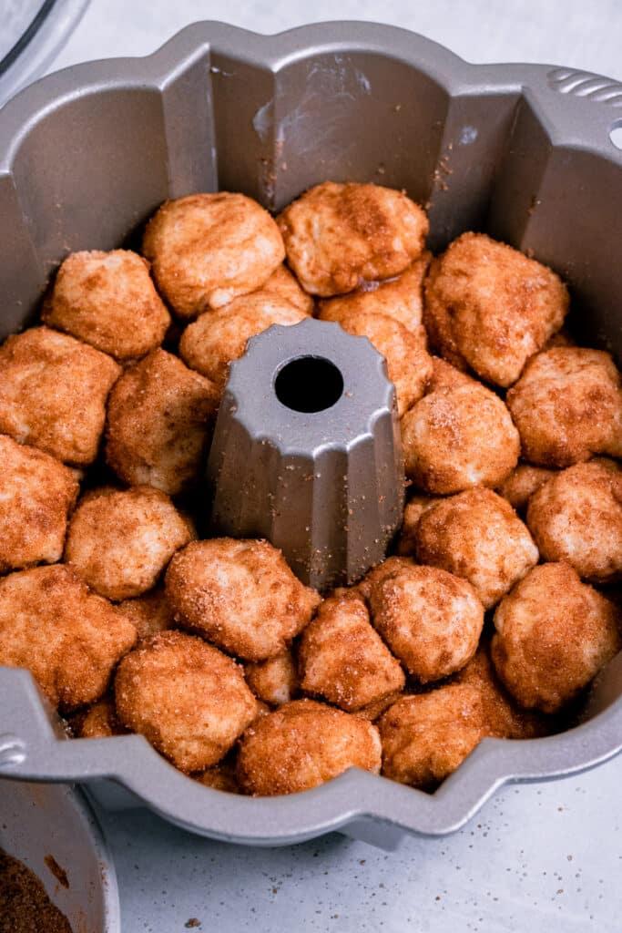 Dough balls in a Bundt pan for a second rise