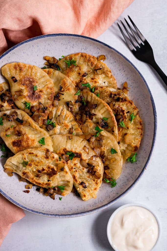 Vegan Pierogi on a plate