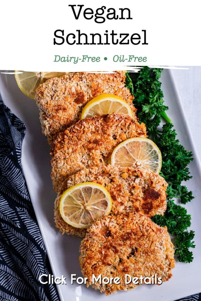 Pinterest image for the vegan schnitzel
