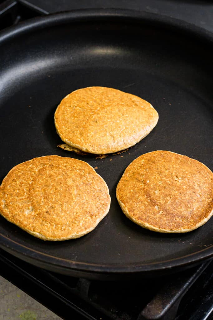 Three pancakes in a pan