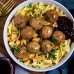 Vegan Swedish Meatballs in a bowl