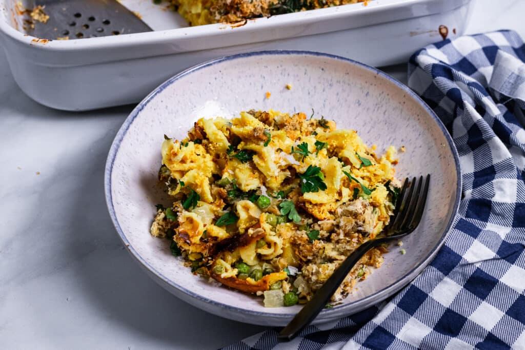 Vegan Tuna Casserole in a bowl