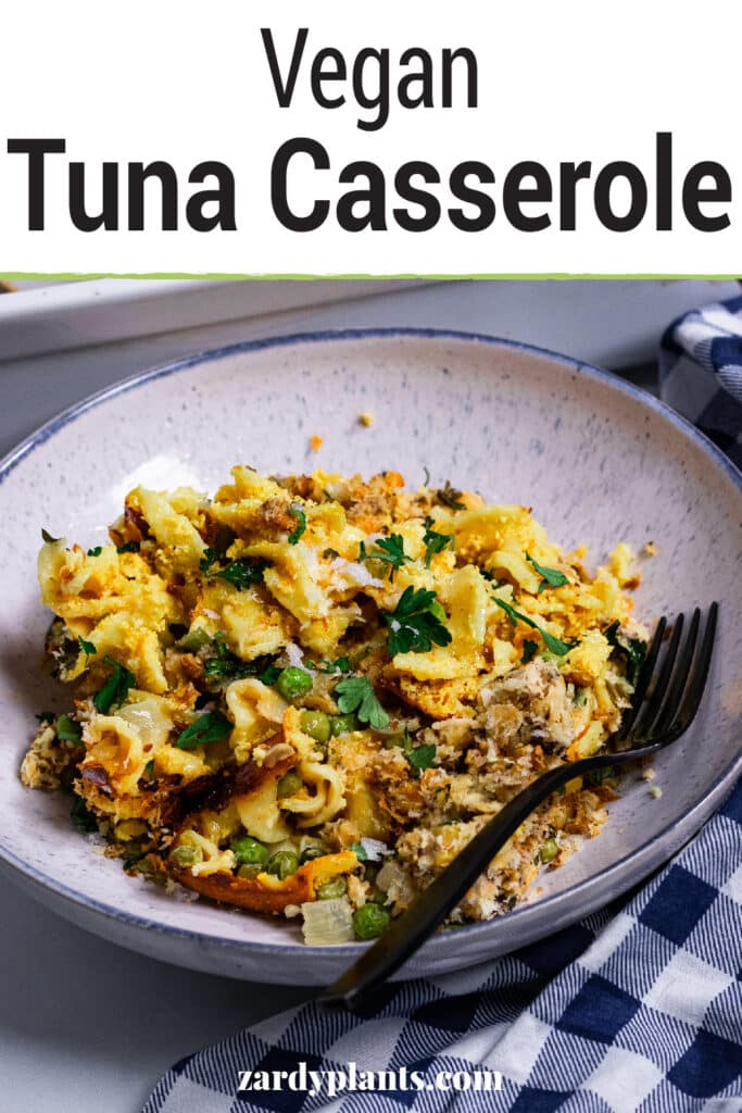 Pinterest image for the vegan tuna casserole