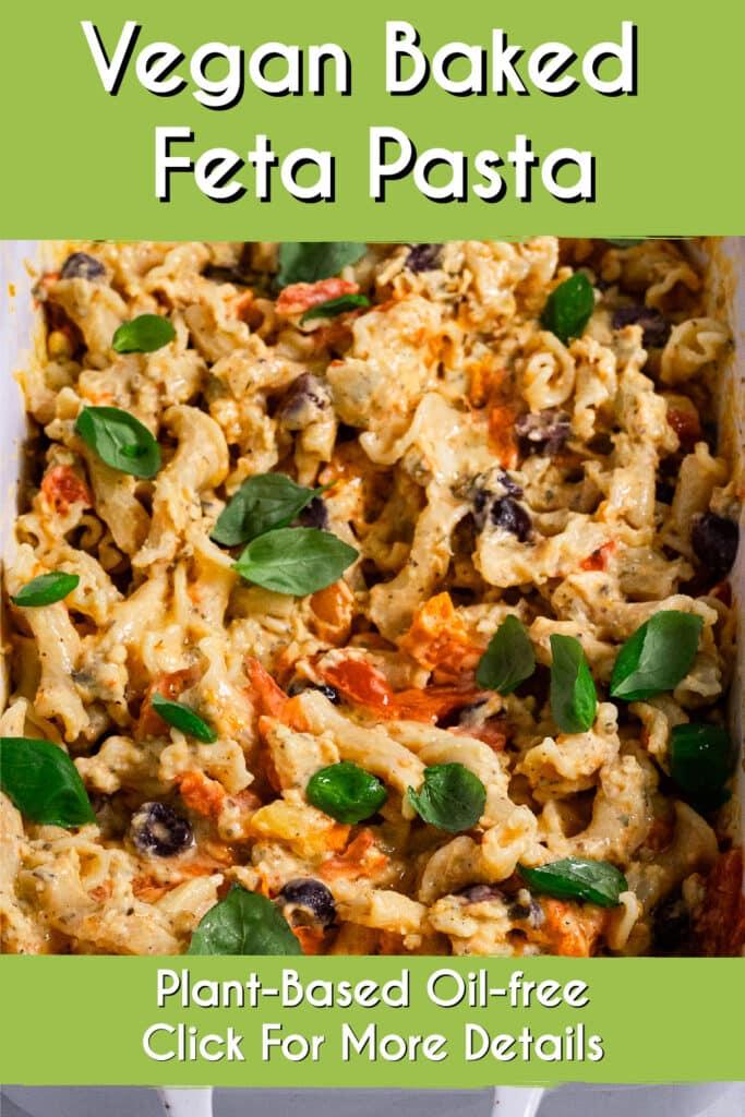 Pinterest image for the baked feta pasta