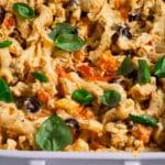 Baking dish of vegan feta pasta