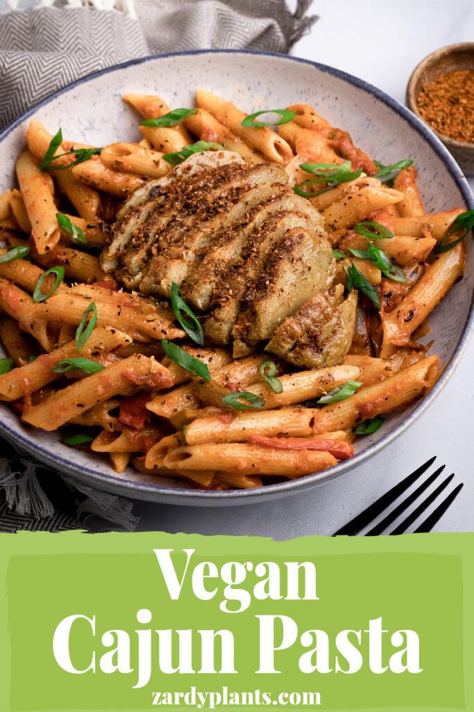 Pinterest image for the vegan Cajun pasta