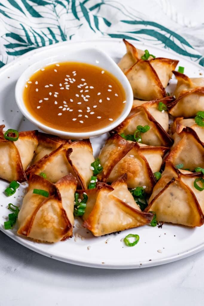 Vegan crab rangoon with duck sauce