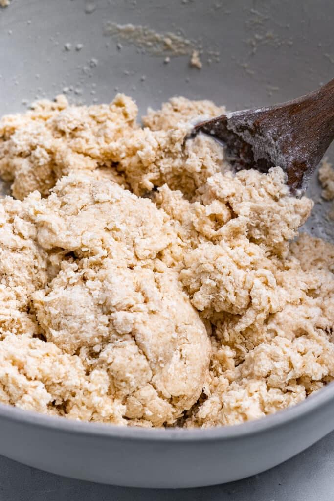 Dough mixed in a bowl