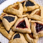 Plate of Hamantaschen with three fillings