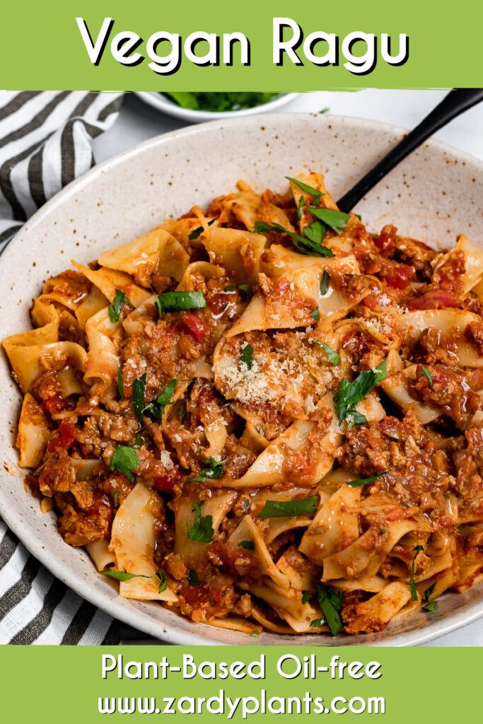 Pinterest image for vegan ragu