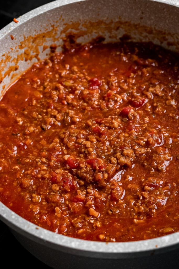 Vegan Ragu sauce in a pot