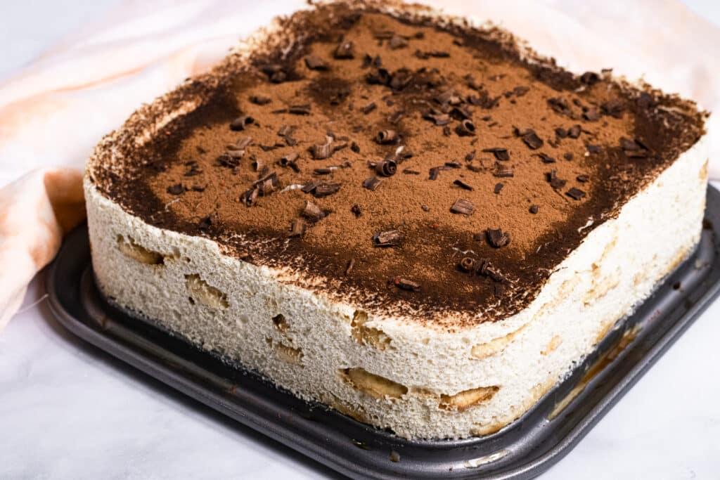 Vegan Tiramisu on a baking tray