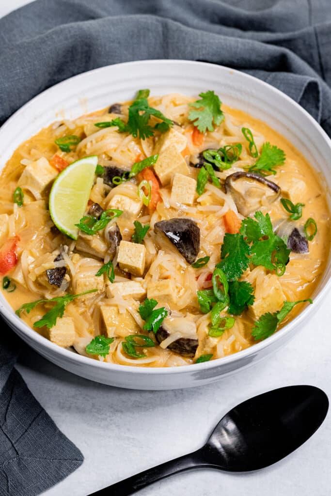 Vegan Tom Kha Soup in a bowl