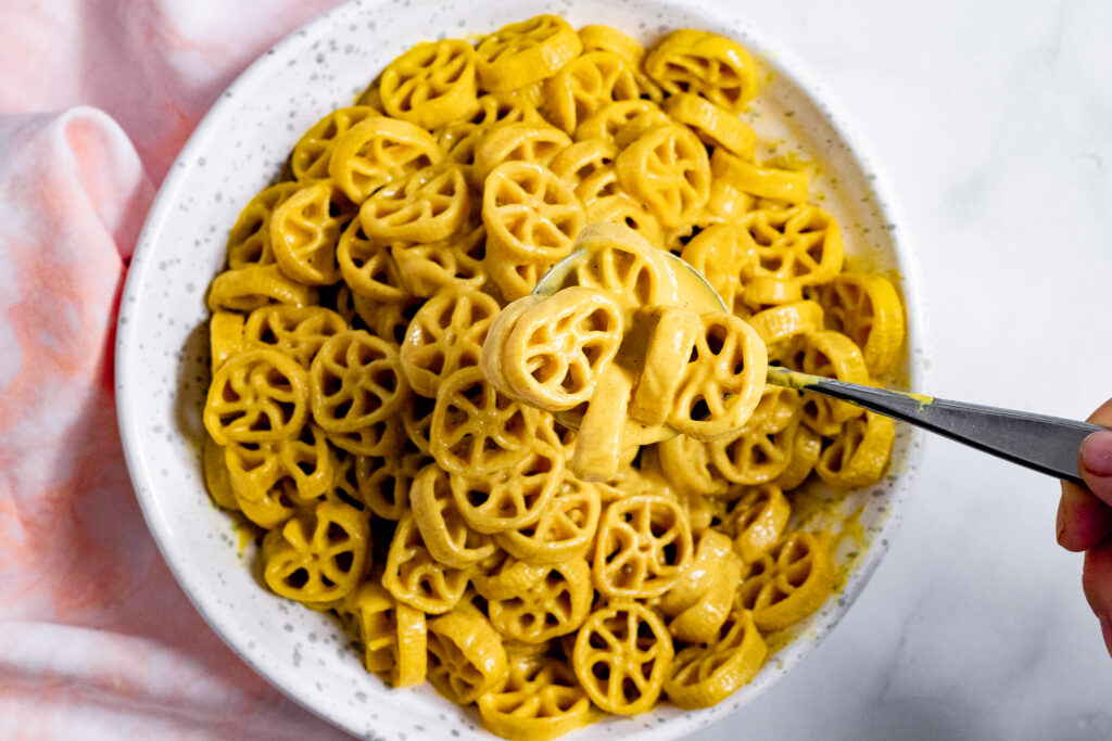 Vegan wheels and cheese in a bowl