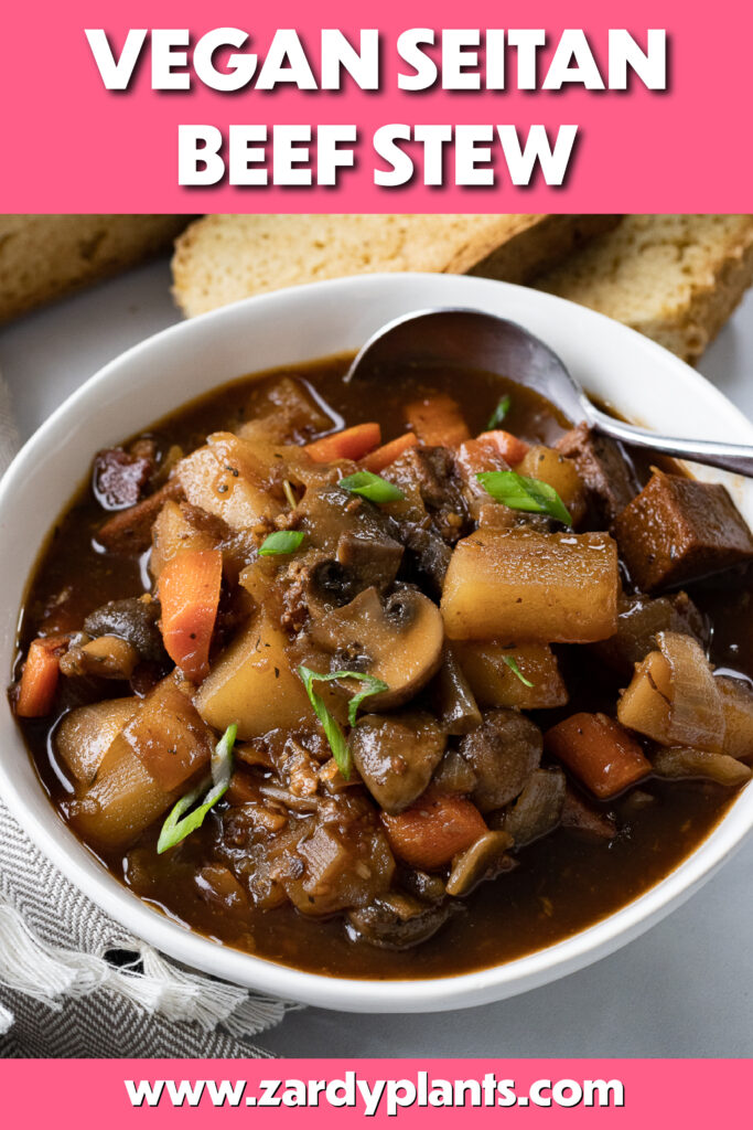 Pinterest image for the seitan stew
