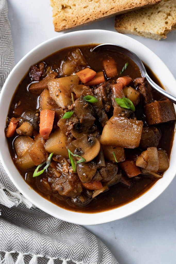 Vegan Beef Stew in a bowl