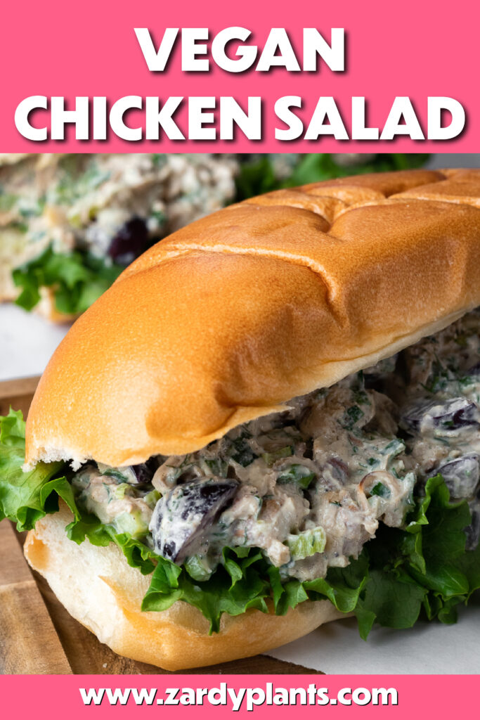 Pinterest image for the jackfruit chicken salad