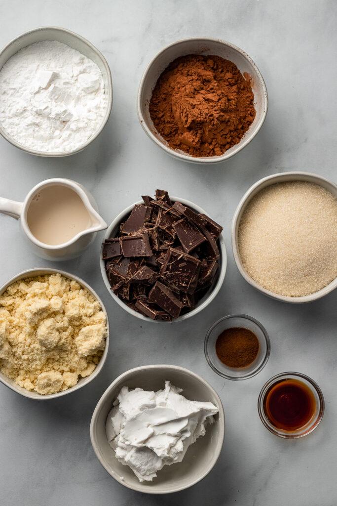 Cake ingredients in bowls