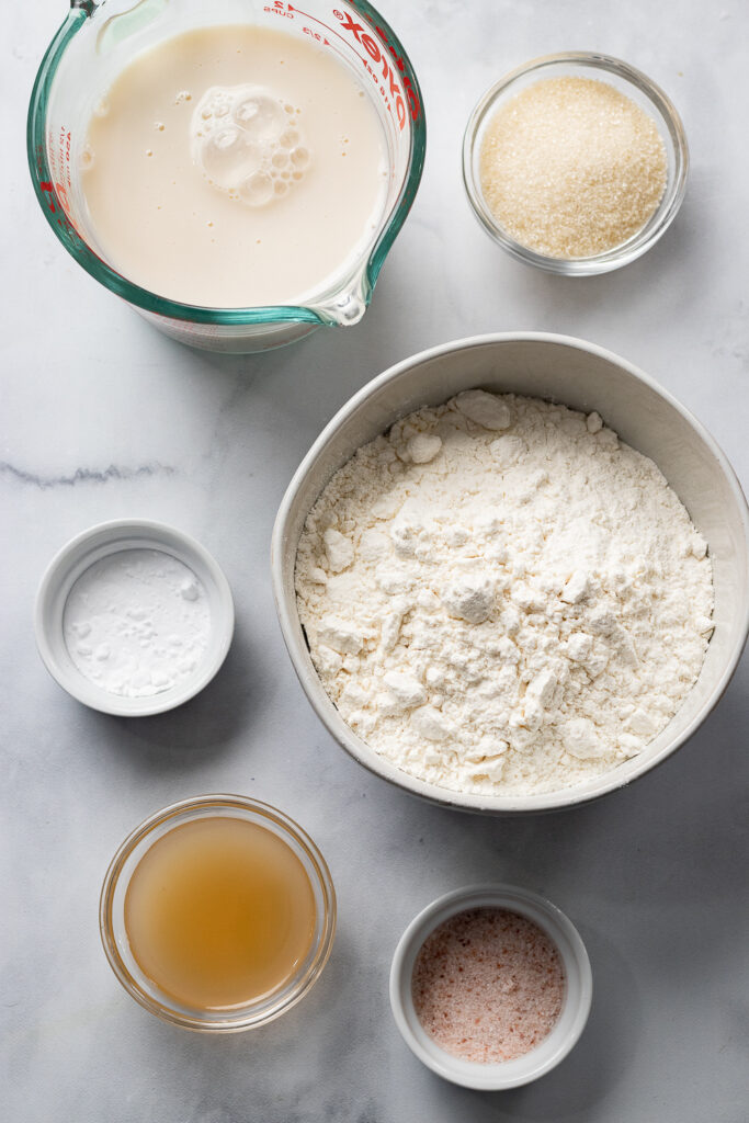 Flour and ingredients in bowls