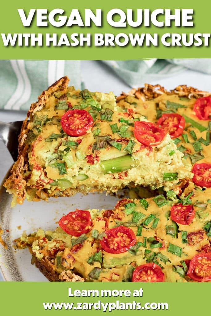 Pinterest image for the vegan quiche
