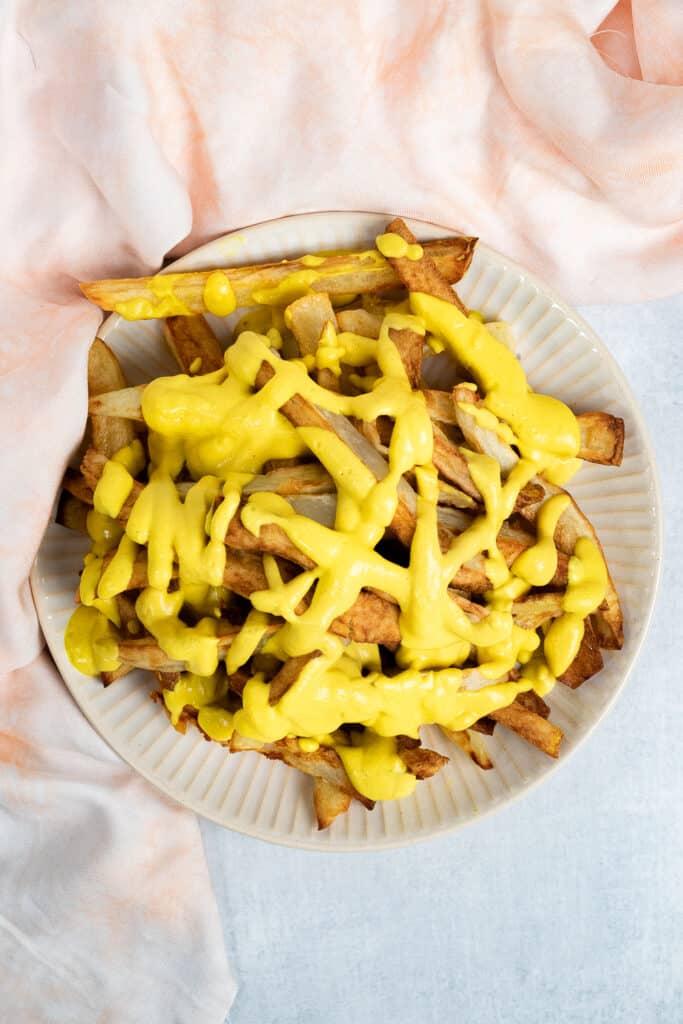 Plate of Cauliflower Cheese Fries