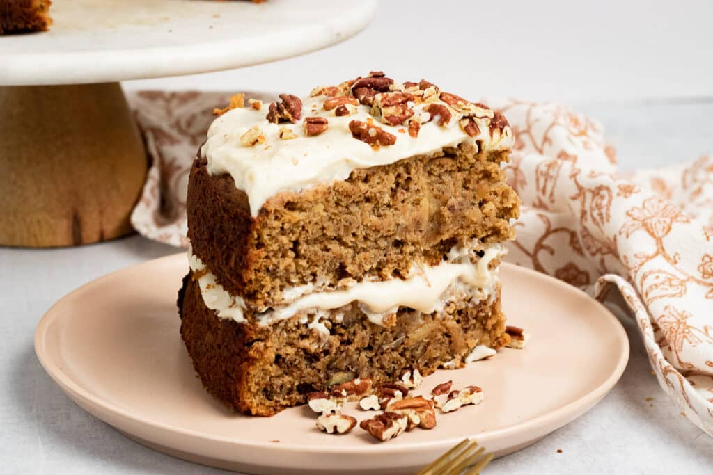 Vegan hummingbird cake on a plate