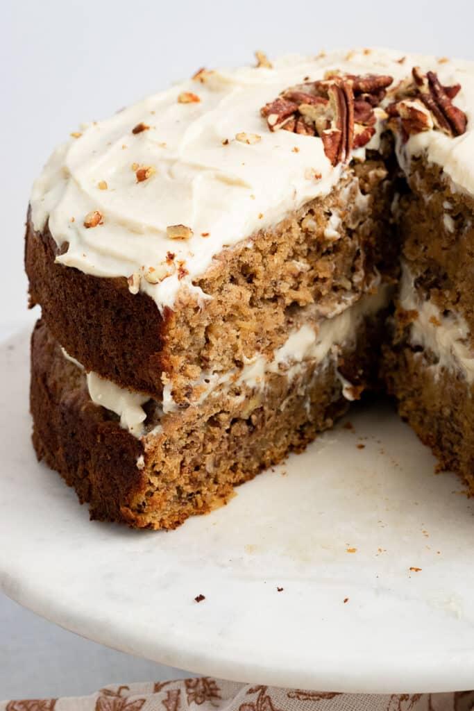 Vegan Hummingbird cake with slice taken out