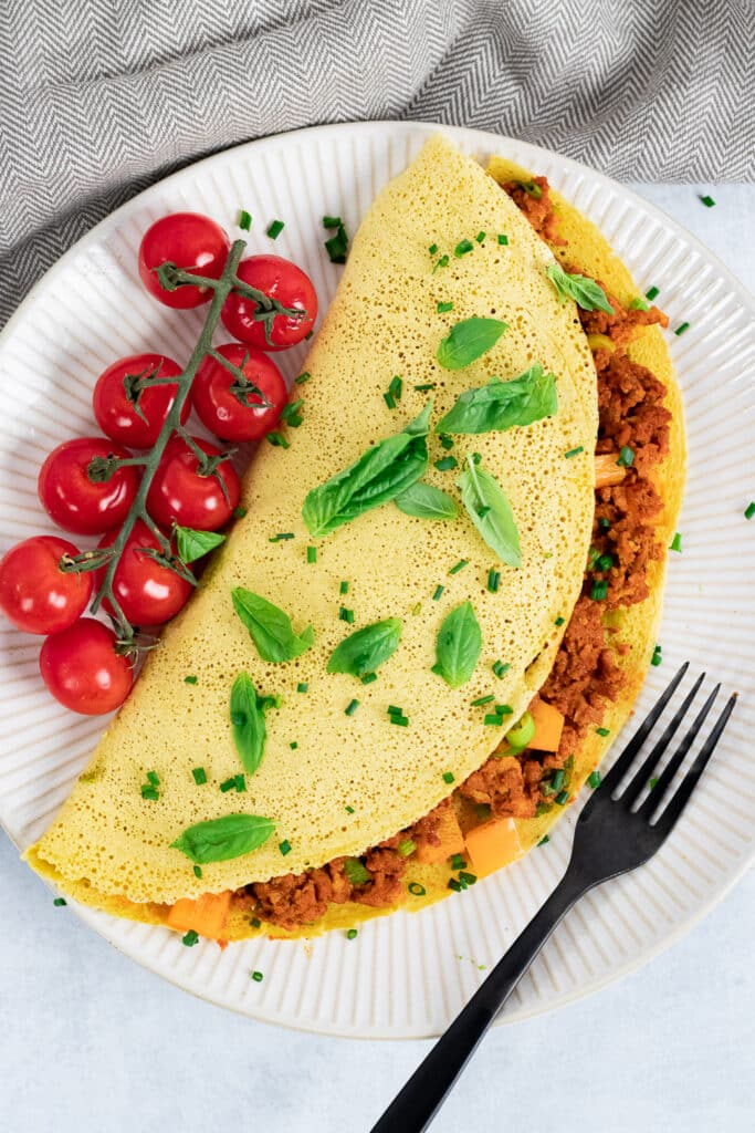 Vegan omelette on a plate