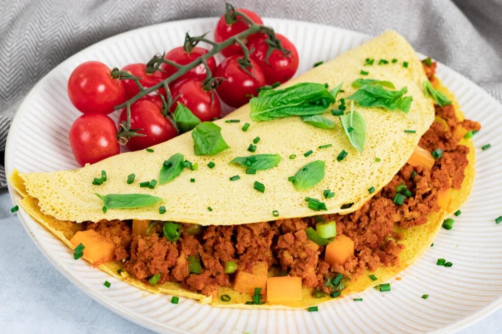 Vegan omelette on a plate