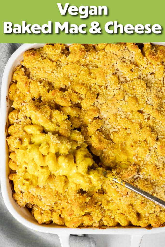 Pinterest image for the baked mac and cheese