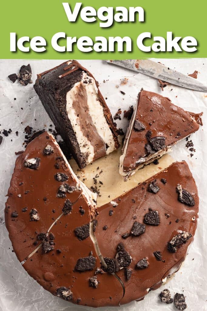 Pinterest image of the vegan ice cream cake