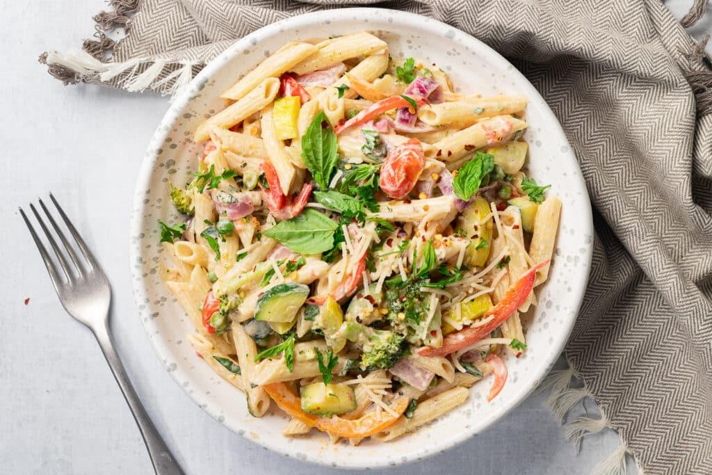Bowl of primavera pasta
