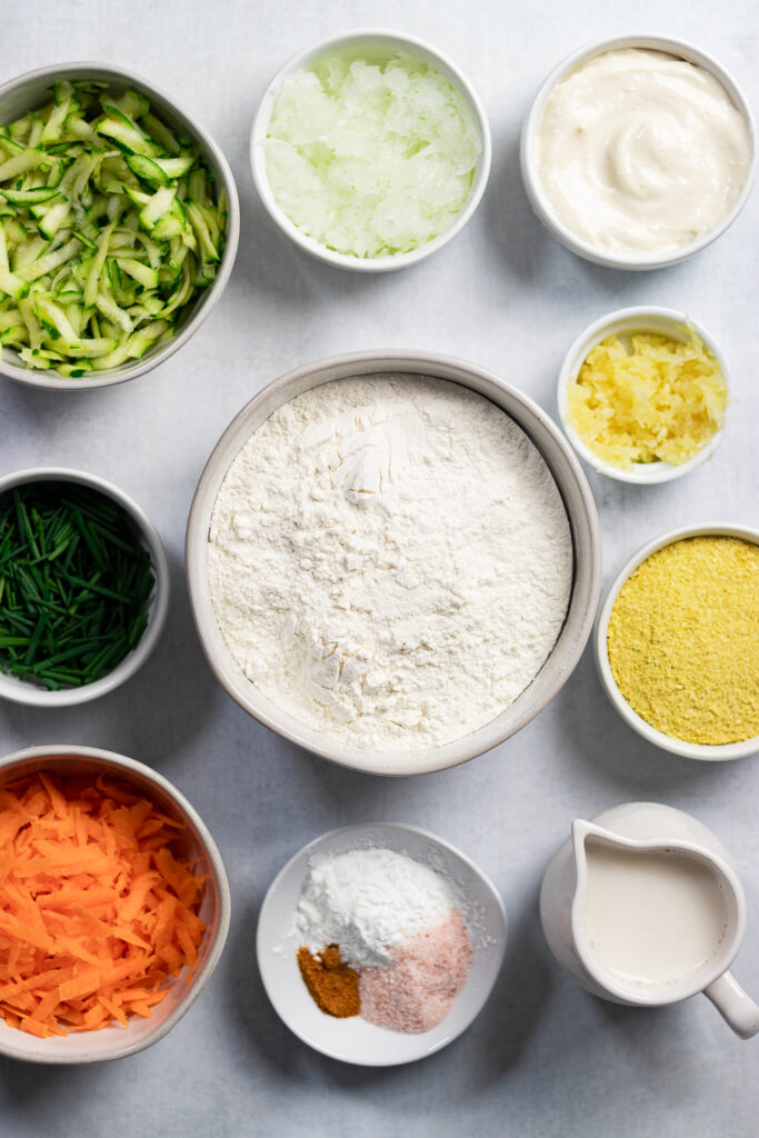 Flour and other ingredients in bowls